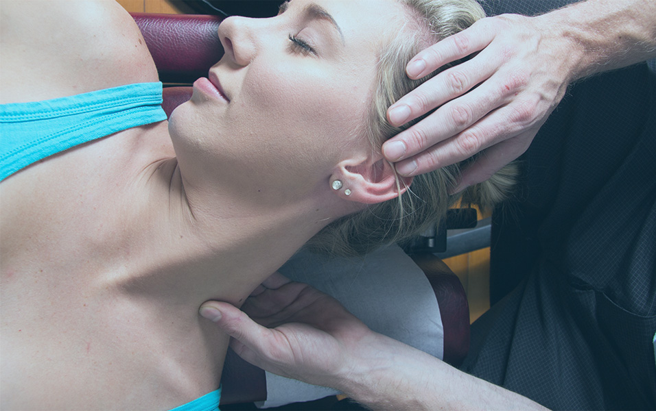 Closeup Of Female Patient Neck Muscles Massage