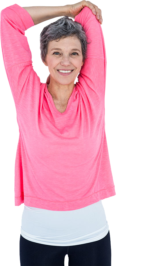 Portrait Of Happy Woman Stretching
